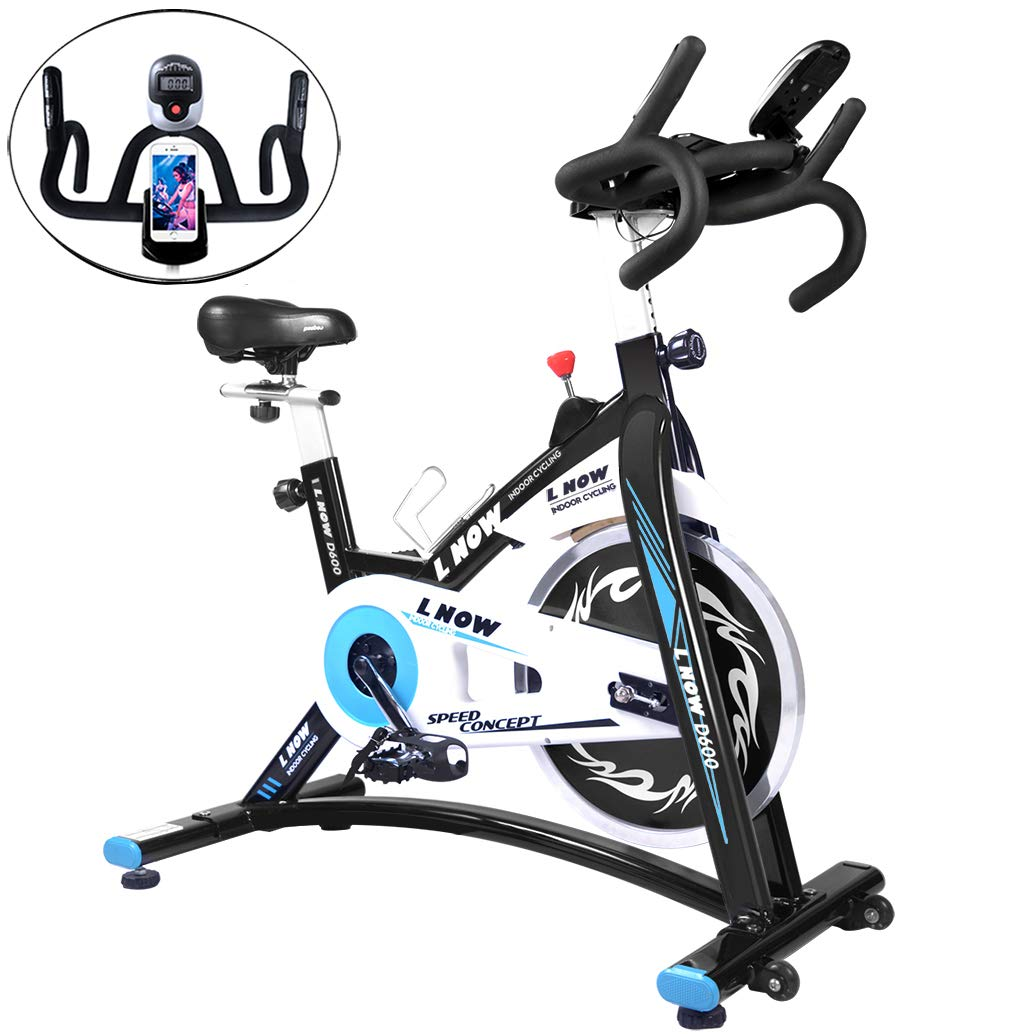 L NOW Indoor Cycling Bike Stationary Bike Smooth Belt Driven with Phone Holder (Model D600) by L NOW (Image #1)