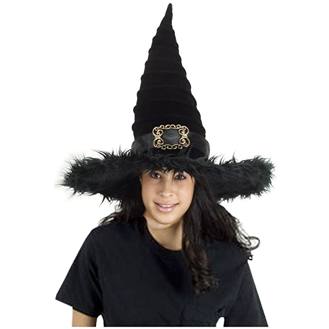Amazon.com  elope All New and Fun Ridged Black Witch Hat in Velvet ... 40da07cb781