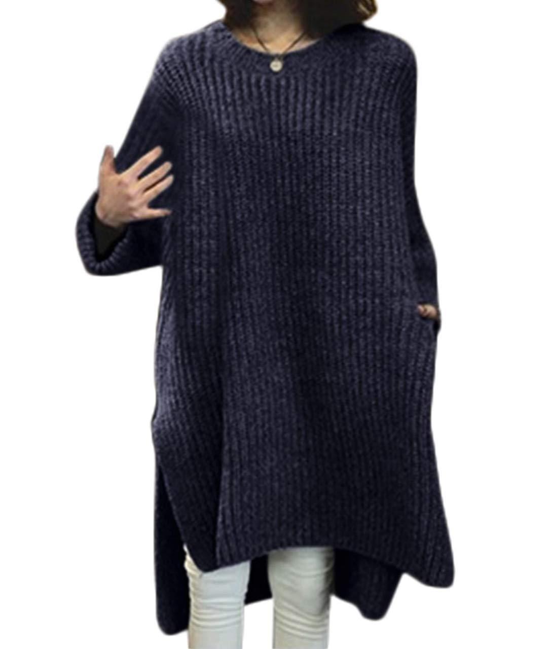 [アナトレ] レディース チュニック ニット サイドスリット 長袖 セーター