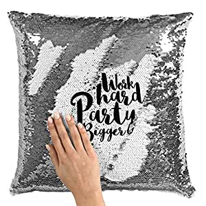 "Sequin Throw Pillow Work Hard Party BiggerPrinted White Silver Sequin - 16"" x 16"""