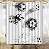 Fabric Shower Curtain Sports Round Soccer Balls in Air Fast Kick Shoot in Flame Kickoff Artsy Sketch Anti Mold Water Resistant Healthy Fabric Curtain 60 x 72 inches