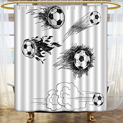 Fabric Shower Curtain Sports Round Soccer Balls in Air Fast Kick Shoot in Flame Kickoff Artsy Sketch Anti Mold Water Resistant Healthy Fabric Curtain 60 x 72 inches by AmaPark