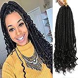 6Pcs/Pack Crochet Hair Black Box Braids Hair Ends Ombre Brown Kanekalon Loose Wave Synthetic 18 Inch Box Hair For Braid 22 Strands/pcs Braiding Hair Extensions (Black(1B))
