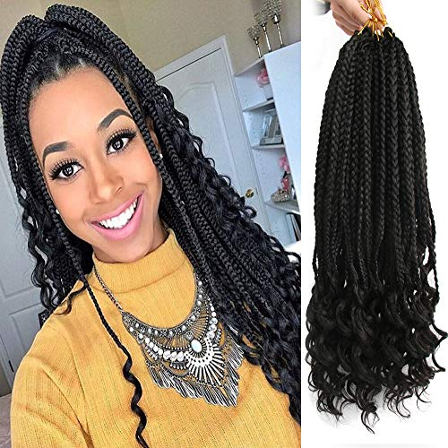 6Pcs/Pack Crochet Hair Black Box Braids Hair Ends Ombre Brown Kanekalon Loose Wave Synthetic 18 Inch Box Hair For Braid 22 Strands/pcs Braiding Hair Extensions (Black1B)