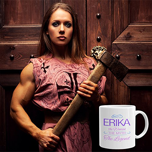 Erika Coffee Mug Tazas Personalizadas con Nombres - The Woman The Myth The Legend - Best Gifts Regalos for Women - 11 oz White mug - Purple: Amazon.es: ...