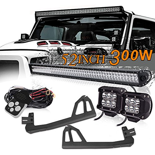 UNI FILTER 52Inch 300W Upper Roof Windshield Combo Beam LED Light Bar + 2PCS 4Inch 18W Spot LED Pods Cube Driving Lights W/Remote Switch Wiring Harness Kits For 2005-2017 JEEP Wrangler JK JKU