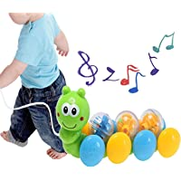 Kiwilon Rolling Draw and Drag Worm Pull Along Toys for Kids