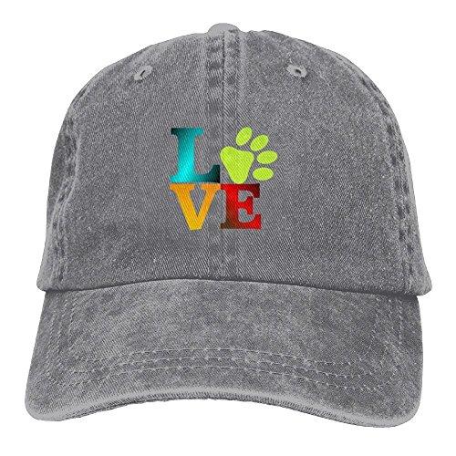 fc404bbee0d Love Dog Paw Colorful Denim Hat Adjustable Unisex Vintage Baseball Caps