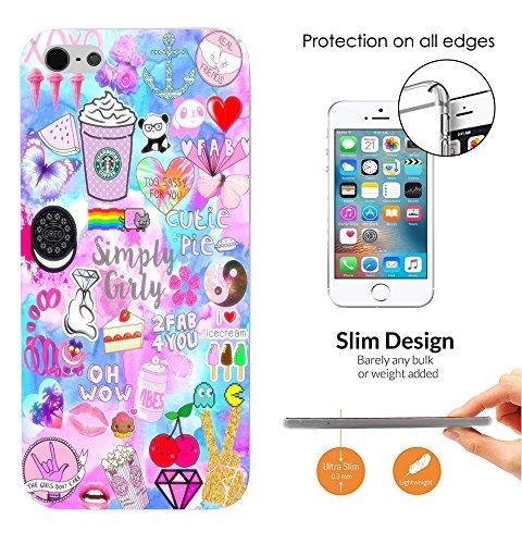 002720 - Emoji Stickers Panda Diamond Peace Hearts Cookies Design iphone SE 2016 / iphone 5 5S Fashion Trend Leichtgewicht Hülle Ultra Slim 0.3MM Kunststoff Kanten und Rückseite Protection Hülle - Cle