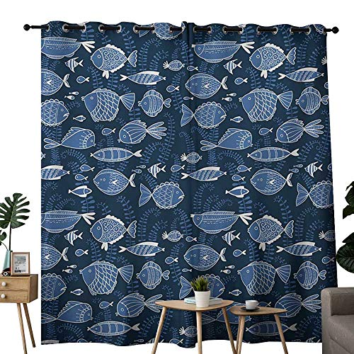 (NUOMANAN Curtains for Living Room Ocean,Sealife Marine Navy Image with Tropic Fish Moss Leaves Artwork Image,Blue Indigo Royal Blue,Complete Darkness, Noise Reducing Curtain 52