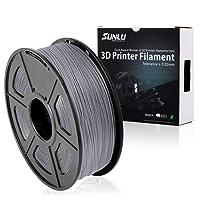 SUNLU 3D Printer Filament PLA Plus Grey,PLA Plus Filament 1.75 mm, Low Odor Dimensional Accuracy +/- 0.02 mm 3D Printing Filament,2.2 LBS (1KG) Spool 3D Printer Filament for 3D Printers & 3D Pens,Grey