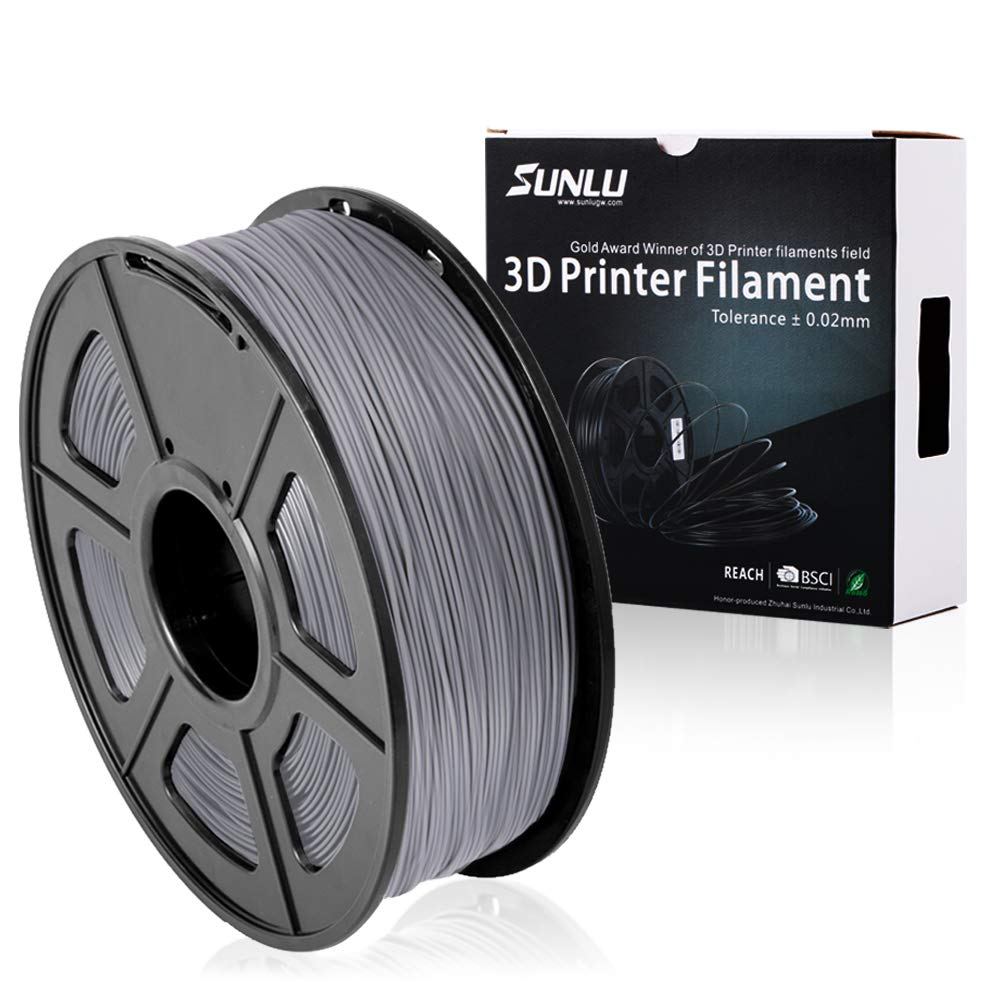 SUNLU PLA Plus 3D Printer Filament - 1KG(335m/1099ft) 1.75mm, Dimensional Accuracy +/- 0.02 mm, 1KG(2.2LBS) Spool 1.75 mm, Grey