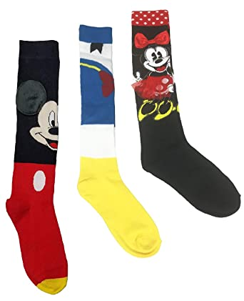 b9fcf98e51c Image Unavailable. Image not available for. Color  Disney Mickey   Minnie  Mouse Donald Duck Socks Women s Knee High - 3 pair bundle