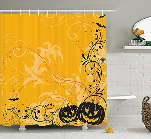 Halloween Decorations Collection Carved Pumpkins with Floral Patterns Bats and Spider Web Horror Themed Artwork Polyester Fabric Bathroom Shower Curtain Set with Hooks Orange (Pumpkin Patterns Printable)
