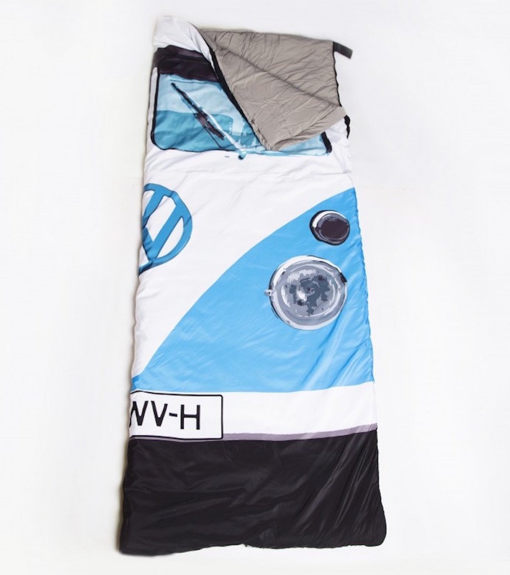 Blue VW Volkswagen T1 Camper Van Styled 3 Season Sleeping Bag – Warm Vintage Retro Camping Accessory