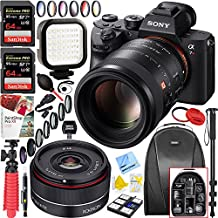 Sony a7R III Full-frame Mirrorless Interchangeable Lens 42.4MP Camera Body + Sony FE 100mm F2.8 STF GM OSS Lens + Rokinon 35mm f/2.8 FE Ultra Compact Wide Angle Lens + 128GB Accessory Bundle