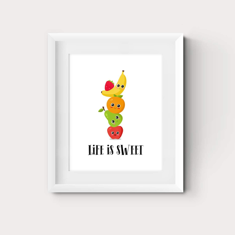 Amazon Com Fruit Themed Kitchen Wall Art 8x10 Or 11x14 Inspirational Room Decor Prints Handmade