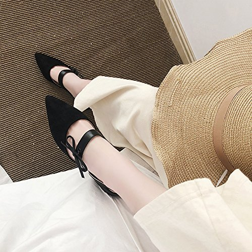 Alta Sandali Singole Con Scarpe Scarpe In GAOLIM Primavera Flat Nero E Baotou Cava Di Tacco E Donne In Femmina La Punta Con Pesanti Estate qf1zOxA1