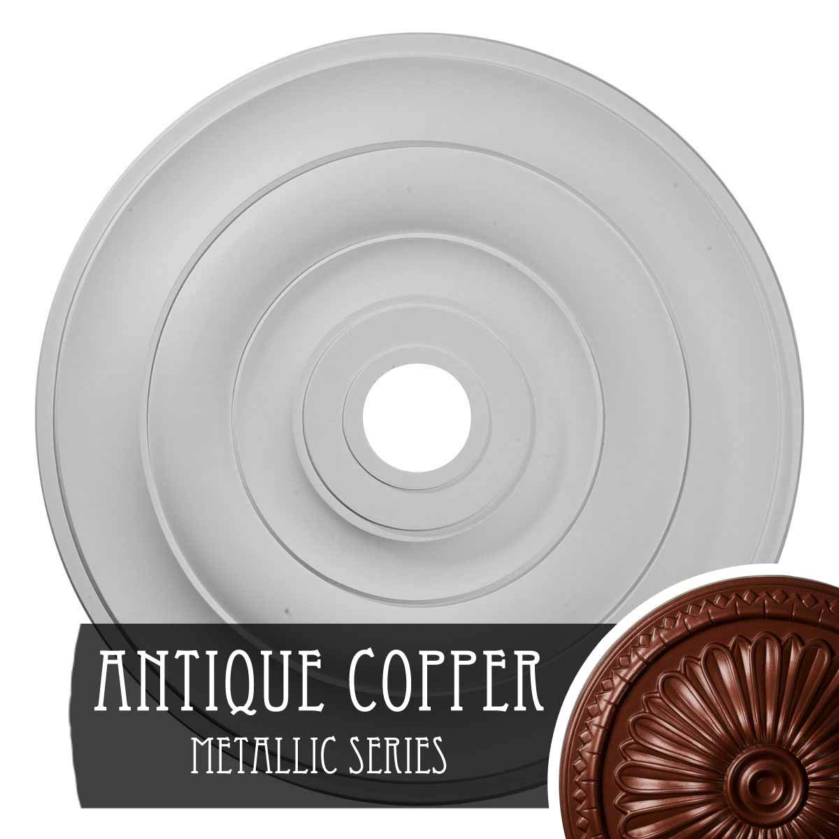 Ekena Millwork CM26JEACS 26-1/2'' x 3-5/8'' x 1-1/2'' Jefferson Ceiling Medallion, Antique Copper