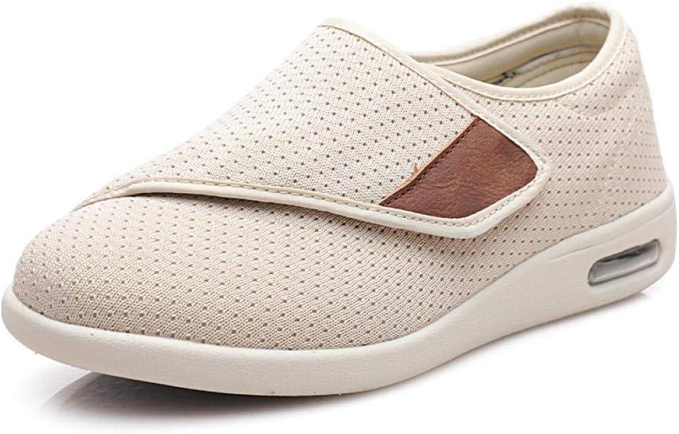 CCSSWW Ajustable De Velcro Zapatillas OrtopéDica,Zapatos diabéticos, amplios y convenientes.-Beige_37,Espuma De Memoria Zapatillas para DiabéTicos