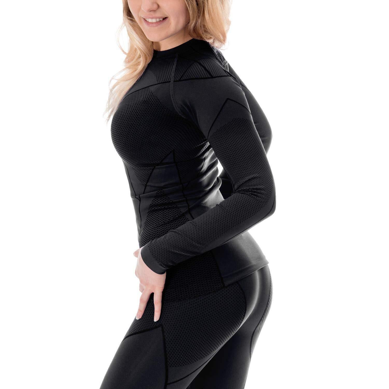 Maillot de Corps /à Manches Longues sans Coutures L//XL Noir Black Snake/® sous-v/êtements Fonctionnels Thermiques pour Femme