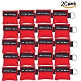 CPR Mask Keyring Pack of 20pcs Emergency Kit Rescue Face Shields with One-Way Valve Breathing Barrier for First Aid or AED Training (Red-20)