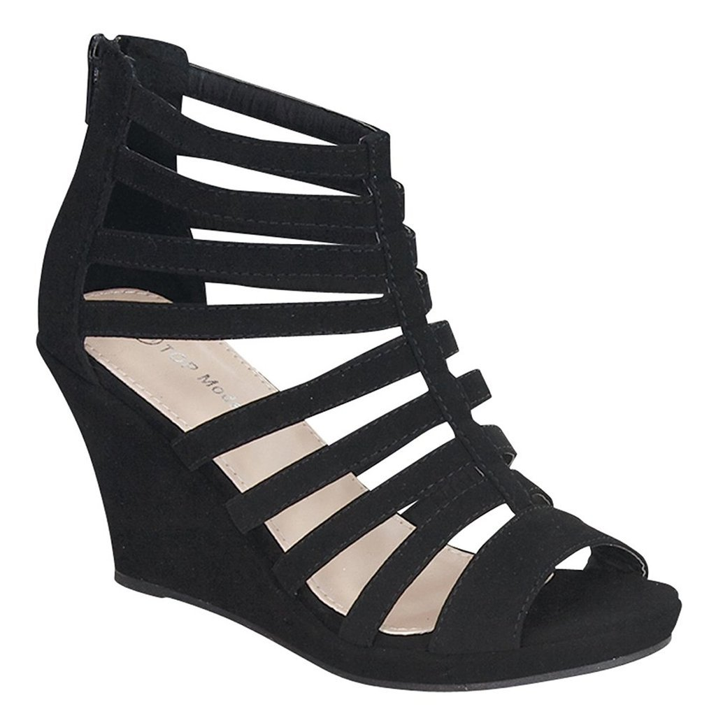 Top Moda Womens Gladiator Inspired Bird Cage Strappy Wedge Sandals (6.5 B(M) US, Black Ts)