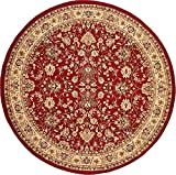 Unique Loom Kashan Collection Burgundy 8 ft Round Area Rug (8' x 8')
