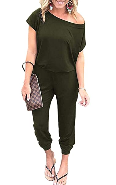 18b8e136f5c Amazon.com  KAY SINN Womens Summer Off Shoulder Jumpsuit Casual Short  Sleeve Elastic Waist Rompers  Clothing