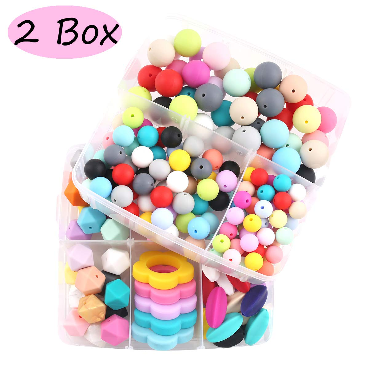 Promise Babe 2 Box Nursing Jewelry Silicone Teether DIY Combination Package Sensory Teething Beads DIY Teething Necklace for mom