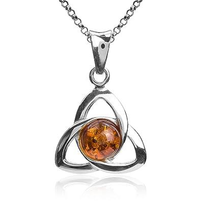 Honey Amber Sterling Silver Round Celtic Pendant Chain 46cm fwrh96yTle