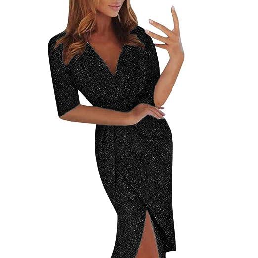 Deep Vestido mujer media de discoteca de acanalada Wrap V manga Startview de Sequins Vestido con negro fiesta ERqwFw
