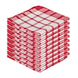 DecorRack 100% Cotton Dish Cloths, 12 x 12 in Ultra Absorbent, Everyday Dishcloths, Red (18 Pack)