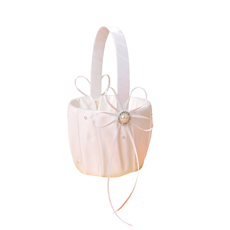 Ivory Satin Beading Wedding Flower Girl Basket