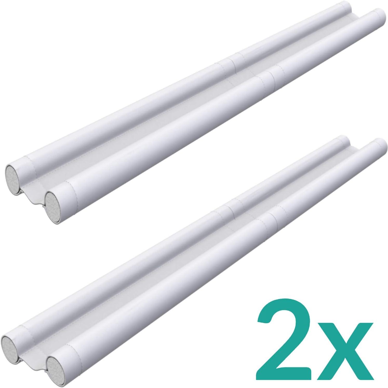 Burlete para puertas de color blanco, juego de 2 unidades, se puede cortar, doble protección contra corrientes de aire, junta para puerta