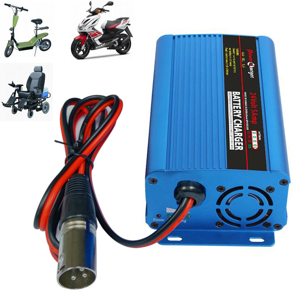 24V 5Amp Smart Automatic Battery Charger, Portable Battery Maintainer With XLR Connector for Car Boat Lawn Mower Marine Scooter Wheelchair Motorcycle eBike