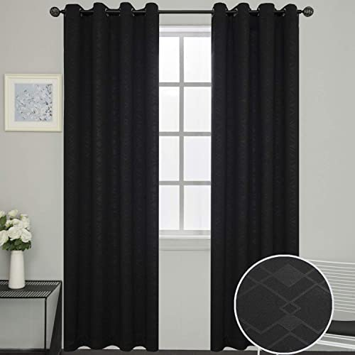 SimplyEasy Room Darkening Trellis Pattern Blackout Window Curtains with Grommets Black Color Modern Geometric Bedroom and Living Room Draperies, Set of 2 Panels 52 x96 , Black