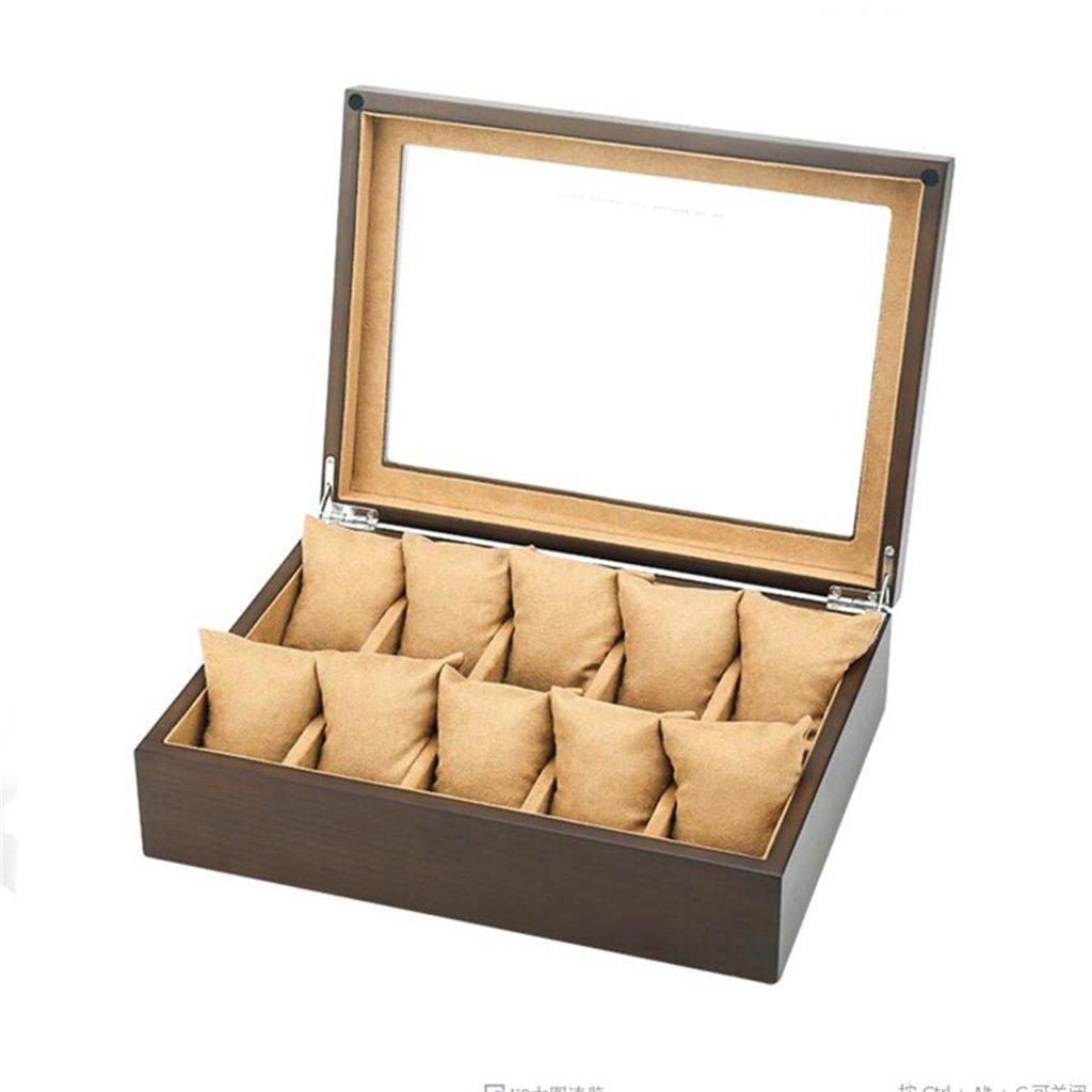 10個の時計のスロット ウォッチボックス 木製 ガラス蓋 時計ケース 旅行やショップのウィンドウの表示のためのジュエリーブレスレットストレージコレクションケース-30X22X8.5cm (色 : ベージュ) B07F5FH1CT ベージュ ベージュ