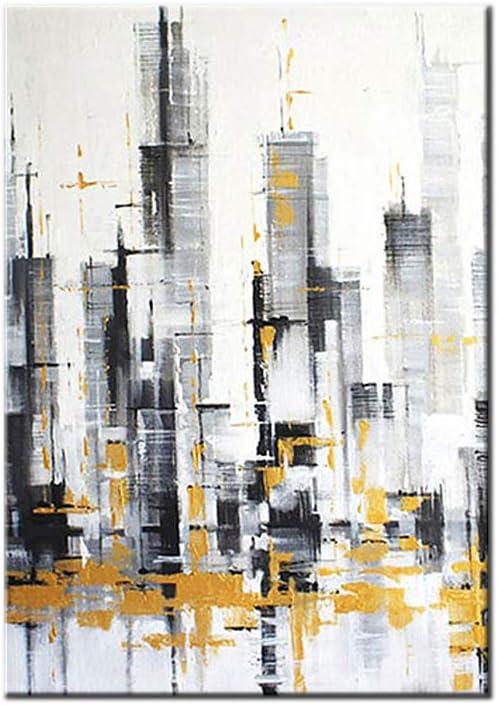HIMAmonkey 100% Pintura Al Óleo Pintado A Mano Cuadros Abstractos Modernos Ciudad Arte De Pared sobre Lienzo Estirada Y Enmarcado Decoración Listo para Colgar,20