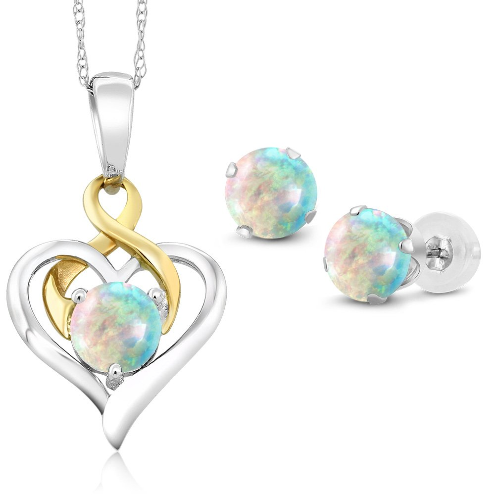 10K Two Tone Gold 2.00 Ct Cabochon White Simulated Opal Pendant Earrings Set by Gem Stone King (Image #1)