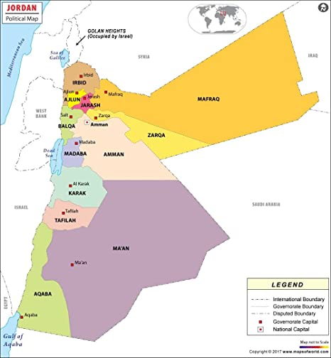 Amazon.com : Political Map of Jordan - Laminated (36\