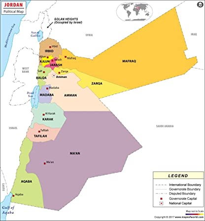Jordan Political Map.Amazon Com Political Map Of Jordan Laminated 36 W X 39 18 H