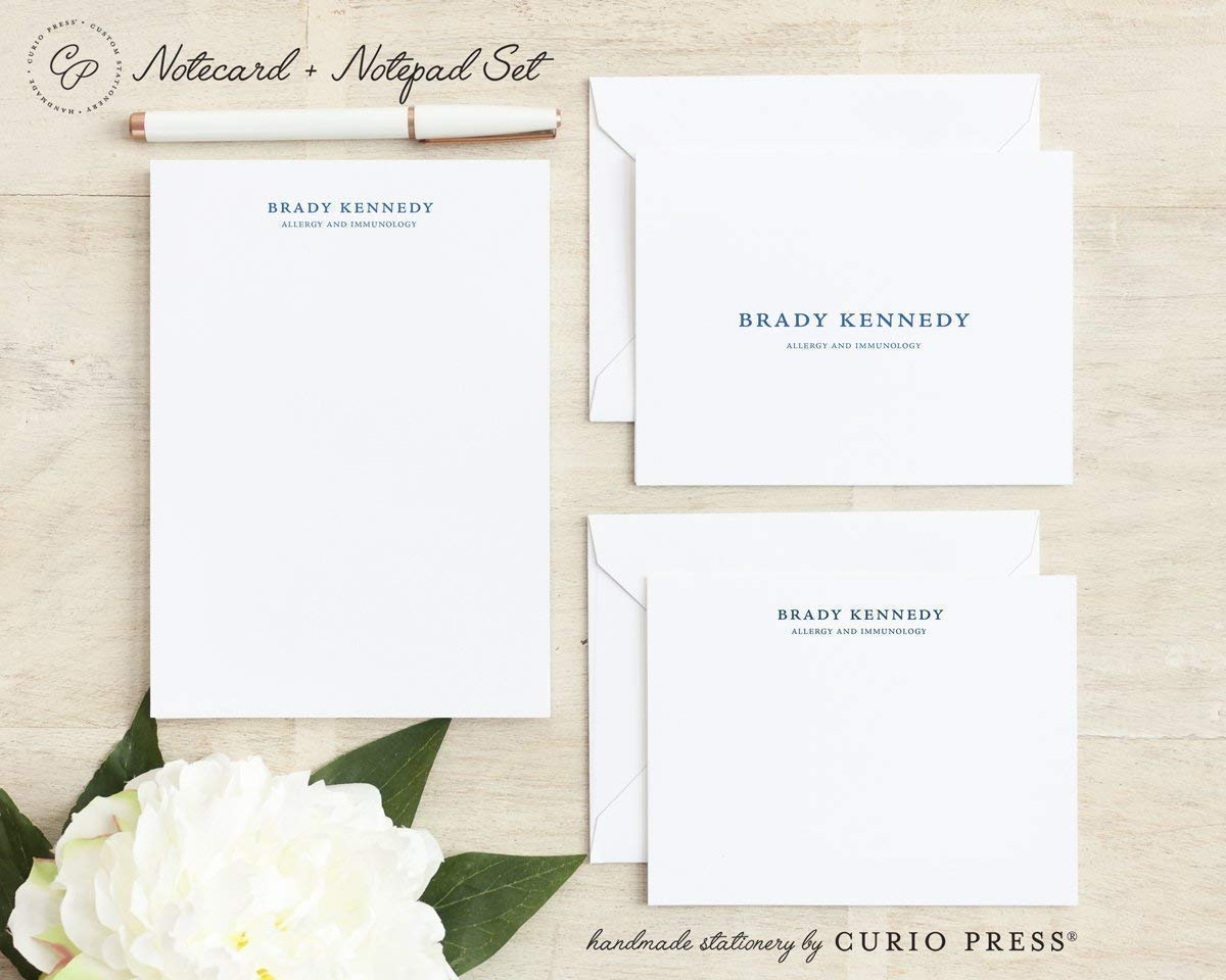 3 Piece Set//FOLDED PAD //// Personalized Notecard and Notepad Stationery//Stationary Set SIMPLICITY SET FLAT