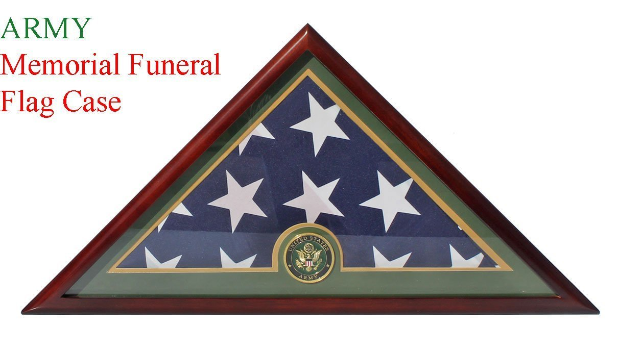 DECOMIL - Army Flag Display Case Box, 5x9 Burial - Funeral - Veteran Flag Elegant Display Case with Flat Base, Solid Wood, Cherry Finish