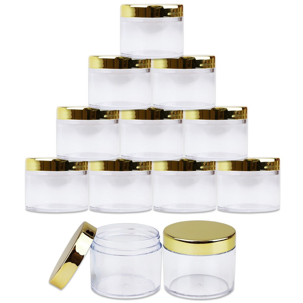 Beauticom 60 Grams/60 ML (2 Oz) Round Clear Leak Proof Plastic Container Jars with Gold Lids for Travel Storage Makeup Cosmetic Lotion Scrubs Creams Oils Salves Ointments (12 Jars)
