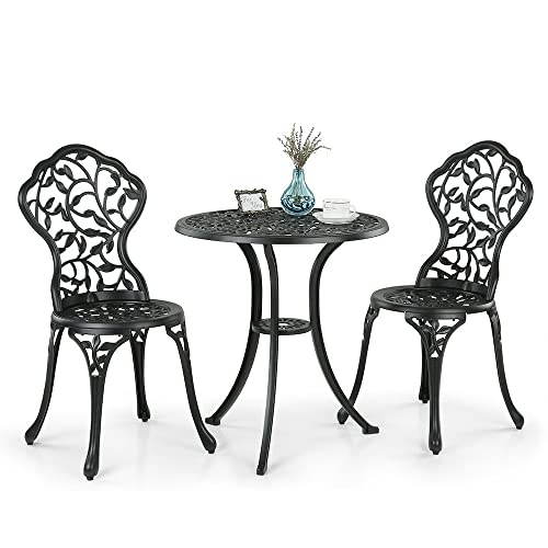 IKAYAA 2 Seater Garden Patio Bistro Set Aluminum Porch Balcony Garden Table  U0026 2 Chairs Set