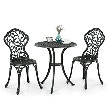 Ikayaa 2 Sitzer Garten Innenhof Bistro Set Aluminium Veranda Balkon Tisch U0026  2 Stühle Gartenmöbelset