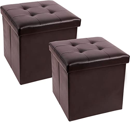 CAMPMOON 15″ Faux Leather/Linen Ottoman Cube