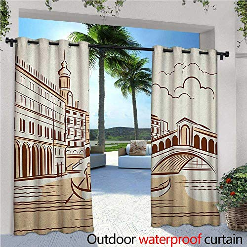 Venice Balcony Curtains Stencil Art Display of Tranquil Venetian Landscape Bridge Buildings and Gondola Outdoor Patio Curtains Waterproof with Grommets W120 x L108 Burgundy Cream