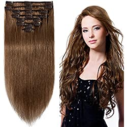 24 inch 120g Clip in Remy Human Hair Extensions Full Head 8 Pieces Set Long length Straight Very Soft Style Real Silky for Beauty #6 Light Brown